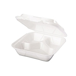 Snap It Foam Container, 3-Comp, 8 1/4 X 8 X 3, White 200/Cs, Sold Case