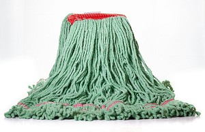 "Starborne Looped End Wet Mop - Green - Large - 5"" Red Headband - Double Tailband - 12/CS - Sold Each"