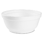 Foam Bowls, 8 ounce, White, Round, 50/Pack, 20 Packs/Case, Sold Case