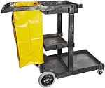 Gray Janitor Cart with Vinyl Bag - 47 X 20 X 38